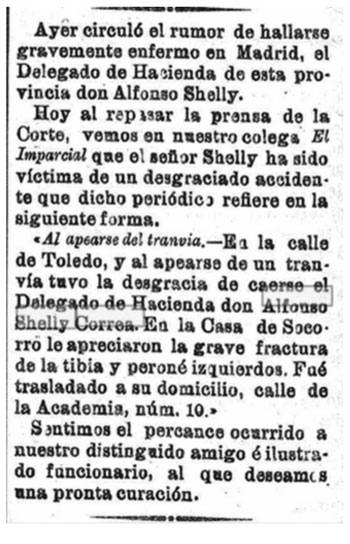 Noticia sobre el accidente sufrido por Alfonso Shelly Correa.