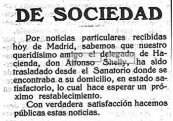 Nota de prensa sobre el estado de Alfonso Shelly Correa, tras su accidente.